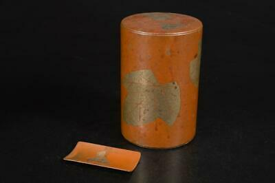 A2758: Japanese Old Copper TEA CADDY Chaire Container, Gyokusendo made