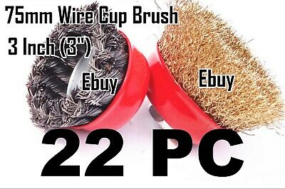 "22pc  3"" x 5/8"" Arbor FINE Crimp & Knot Wire Cup Brush Twist - Angle Grinders"