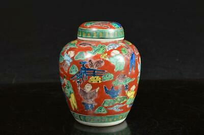 A2715: Japanese Kutani-ware Person Bird pattern TEA CADDY Chaire Container