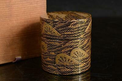 A2717: Japanese Wooden water wheel gold lacquer pattern TEA CADDY Natsume w/box