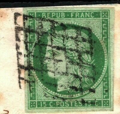 FRANCE 1850 Ceres 15c Green Used Large 1851 Cover Piece Scott.2 Cat $1,550+ SS50