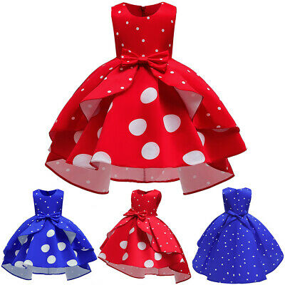 Toddler Child Kids Girls Christmas Dot Print Sleeveless Dress Pageant Party Gown