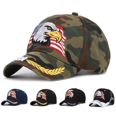 Waving USA American Bald Eagle Branches Dark Blue Embroidered Cap CAP676 Hat