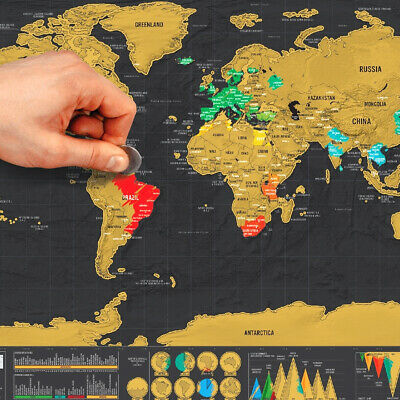Scratch Off World Map Poster Interactive Travel Atlas Decor Large Deluxe Gift AU