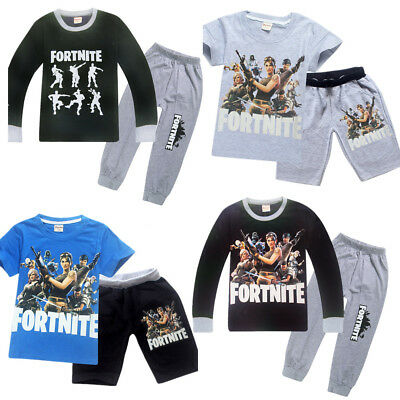 Boys Fortnight Outfits Outsets Shirt Kids Pyjamas Sleepover Black Grey Xmas Gift