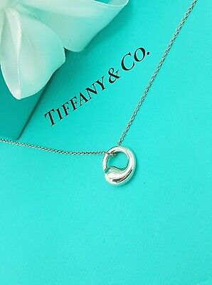 "Tiffany & Co. Elsa Peretti Silver Eternal Round Circle Pendant 16"" Necklace"