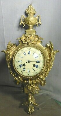 Antique Louis XVI French Cartel Clock Japy Freres Gilt Bronze Brass 1880 ORNATE