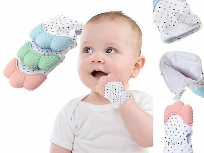 Baby Silicone Mitt Teething Chew Mitten Glove Candy Wrapper Soft Teether Toys UK