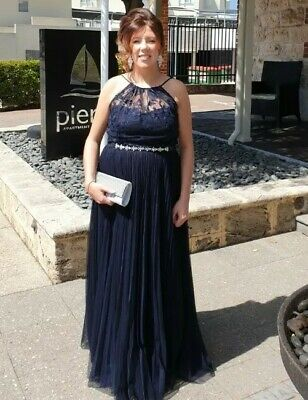Full Length Evening Gown Navy Lace And Pleted size 14