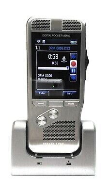 Philips Professional DPM8000 Digital Pocket Memo Voice Recorder with dock/cables