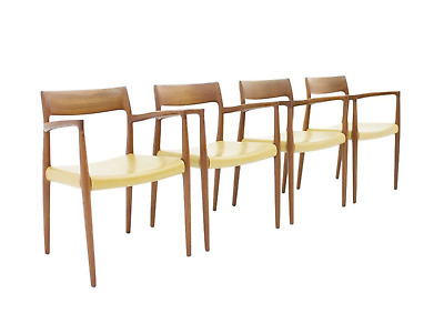 Rare Set of Four Teak Armchairs by Niels O.Møller Model 57 Denmark Chairs