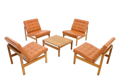 Modular Leather Lounge Chairs from Torben Lind & Gjerløv France & Son Sofa Table