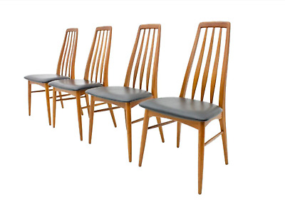 4 Teak and Leather Dining Chais by Niels Koefoed Eva 60s Chairs Leather Denmark