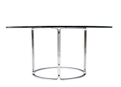 Large Horst Bruening Dining Table Glas Flat Steel Kill 70er 70s