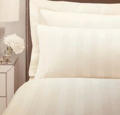 Egyptian Cotton 300 Thread Count Sateen Stripe Cream Single Bed Fitted Sheet