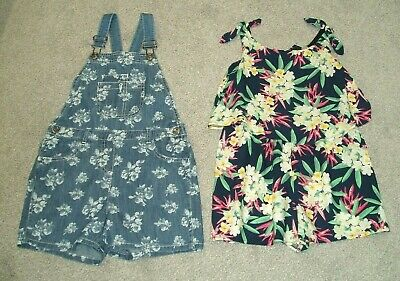 GIRLS PLAYSUITS x 2 SHORTS / ALL IN ONE / DUNGAREE TU + NUTMEG BLUE AGE 7-8yrs