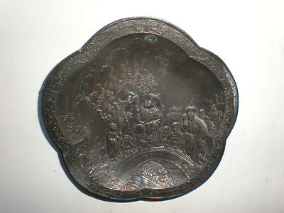 """Vintage Small Metal 3 1/2"""" Japnese Scene Made In Japan Collectible Bronze Color"""