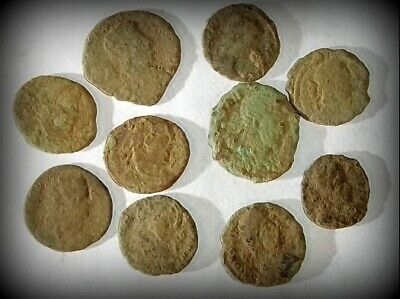 10 ANCIENT ROMAN COINS AE3 - Uncleaned and As Found! - Unique Lot 32808