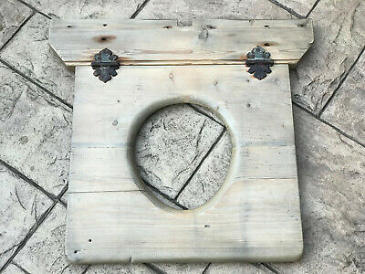 Antique Victorian Solid Wood Wooden Toilet Seat Outside Privy Cast Iron Hinges