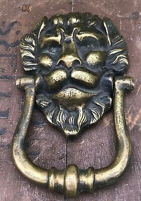 Antique Victorian Solid Cast Brass Lions Head Door Knocker Original Large Heavy