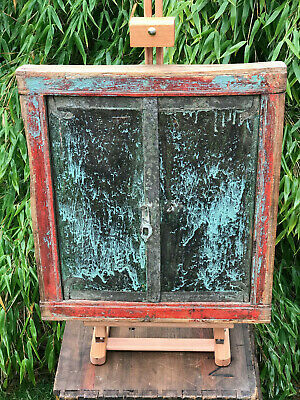 Antique Indian Temple Shuttered Window Hand Painted Late Circa 1920