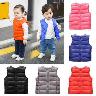 Baby Boys Girls Winter Warm Button Vest Waistcoat Sleeveless Down Coat Outerwear