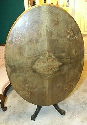Antique Walnut & Mahogany Oval Tilt Top Inlaid Dining Table Occasional 19th c