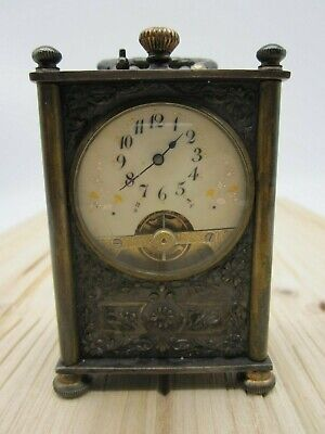 Antique Frainier Depose French Brass & Silver Miniature Carriage Petit Clock