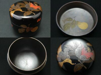 Japanese Lacquer Wooden Tea caddy the Harvest makie Natsume inside Silver (1202)