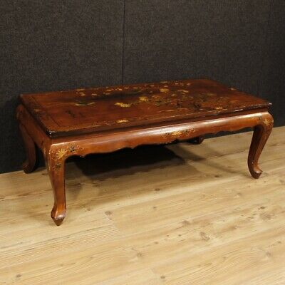 Small Table Furniture Low Living Room Antique Style Wooden Lacquered Chinoiserie