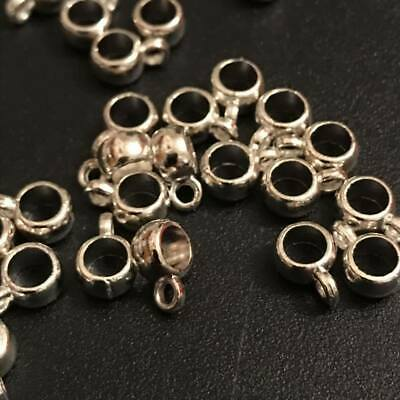 Tibetan Silver pendant hangers bail connectors small smooth round 9mm 4mm hole