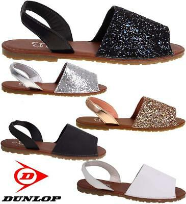 New Womens Ladies Glitter Slingback Flat Menorcan Open Toe Spanish Sandals Shoes