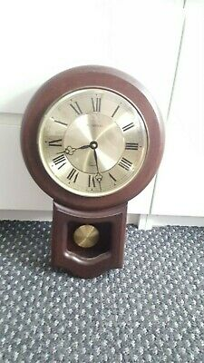 H Samuel Wooden Cased Chiming Pendulum Wall Clock Quartz Movement Working