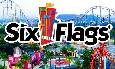 Four (4) Six Flags Tickets 2019 REG PARK Adm & HOLIDAY in the PARK ex 12/31/2019