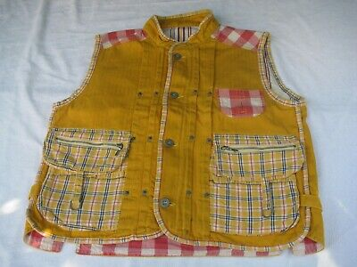 Oilily yellow cotton girl's sleveeless gilet with lots of pockets, 10-14 years