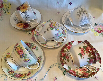 *5 Beautiful Vintage 🌸 Mismatched Floral Bone China Tea Set Cups And Saucers*