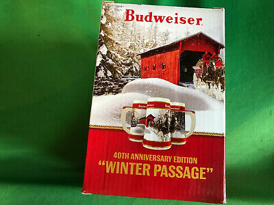 2019 Budweiser 40th Anniversary Edition Winter Passage Holiday Stein
