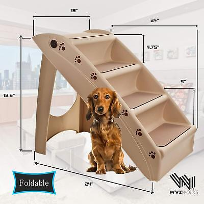 Open Box West Ivory Pet 4 Step Stairs Portable Washable Ladder Dogs Cats