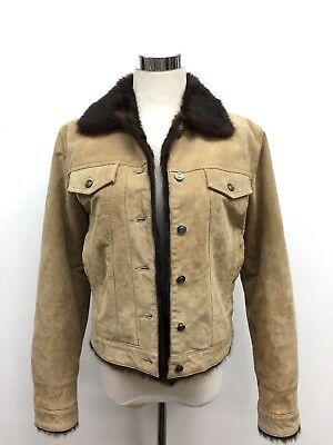 Wilsons Leather Women's Size Small Tan Suede Leather Faux Fur Coat Jacket 6 8