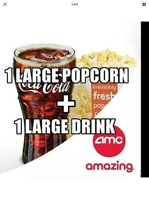 AMC Theaters - 1 Large Popcorn + 1 Large Drink - Expires 6/30/20 *E Delivery