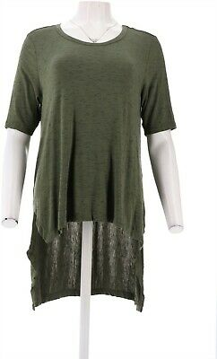 Lisa Rinna Collection Short Slv Top Side Ruching Aurora Red XL NEW A305089