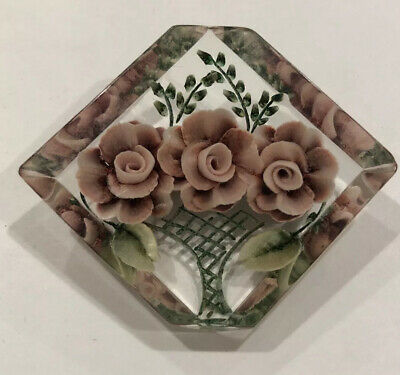 Lucite Pin Art Deco Reversed Carved Purple Flower Basket 1940s Brooch Jewelry