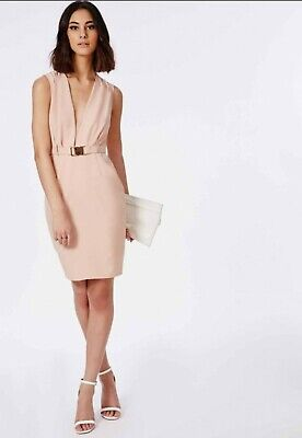 Missguided UK 8 blush Pink Nude Plunge Belted Rose Gold Pencil Dress Bridesmaid