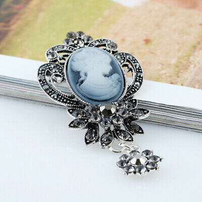 New Women's Cameo Victorian Style Rhinestone Brooch Wedding Bridal Jewelry Pin