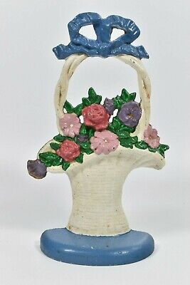 John Wright Basket of Flowers Cast Iron Door Stop Easter Donsco Inc. USA