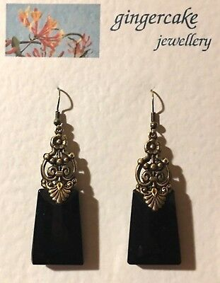 STUNNING LARGE EGYPTIAN DECO STYLE BLACK GLASS GOLD PLATED DROP EARRINGS Hook