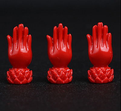 5PCS Amulet Details about Carved Red Cinnabar Lotus Buddha Hand Pendant Bead~119