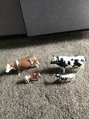 Schleich Lot of 4 black brown white Cows Calf Bull  farm animals
