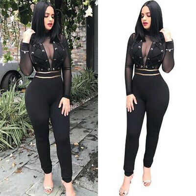 Jumpsuit Women Bodycon Long Sleeve Deep V-Neck Sexy Clubwear Jumpsuits Rompers