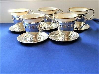 SET 5 STERLING SILVER DEMITASSE WEBSTER CUPS & TIFFANY & CO SAUCERS w  LINERS